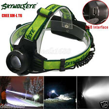 5000 Lumen Cree XM-L T6 LED Rechargeable 18650 Headlamp Headlight Head Torch USB