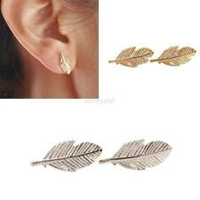 Fashion Womens Gold Plated Stud Earrings Fall Leaves Feather Leaf Jewelry Gift