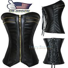 Sexy Women Black Gold Zip up Corset Top Faux Leather Overbust Bustier Steampunk