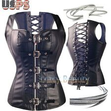 Sexy Faux Leather Buckle Overbust Steel Boned Waist Training Corset Top Bustier