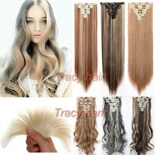 US 100% Natural as human Hair Full Head Clip In Hair Extensions Synthetic h822