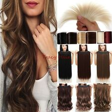 Real Natural 5Clips 4/3 full head clip in on hair extensions Straight Curly H91