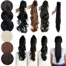 100% Premium Ponytails Hair Straight Curly Clip In Hair Extensions Claw On US h3