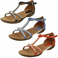 LADIES CLARKS RAFFI STAR T-BAR DIAMANTE DETAIL ANKLE STRAP LEATHER SANDALS SHOES