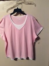 Life Woman's NEW Plus Sz 3X Pink Or Teal Blouse Short Sleeves W/ White Trim