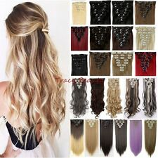 100% Thick 18Clips Clip in Full Head Hair Extensions Extension As Human Hair B95