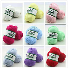 Fingering Durable Natural Smooth Woolen Cotton Bamboo Knitting Yarn Lot Color v6