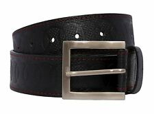 New Mens Circle Textured Red Stitched Black Genuine Leather Stylish Belts S-3XL