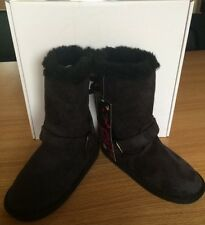 Girls TG Midi Fur Lined Ankle Winter Faux Suede Snugg Boots Size 10