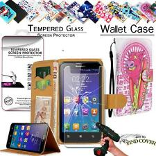 Leather Wallet Card Case + Tempered Glass Screen Protector For Lenovo SmartPhone