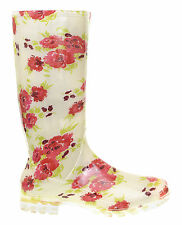 LADIES CREAM WITH RED FLOWER WELLIES SIZE 4 5 6 6.5 7 WINTER RAIN WELLY BOOTP415