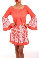 Sexy Plus Coral Embroidered Floral Bell Sleeves Mini BabyDoll  Dress 1X 2X 3X