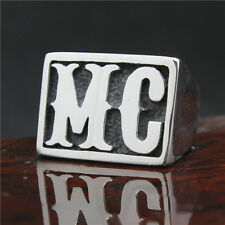 MC Stainless Steel Ring Big Solid Seal Ring Biker 316L silver polished (RE14)
