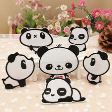 6 Styles Pandas Cute Kids Iron On Patch Sew Motif Applique Craft Embroidered