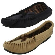 Mens Vamp Moccasin Chequered Insole Slippers