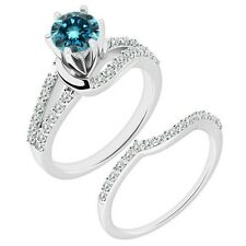 1 Carat Blue Diamond By Pass Solitaire Wedding Bridal Ring Band 14K White Gold