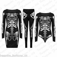 Ladies Halloween Skeleton Skull Bone FOIL Fancy Dress, Leggings, Leotard Top