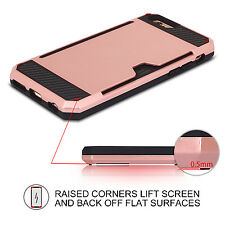 TOUGH PHONE CASE FOR IPHONE 6 & 6S CARD SLOT COVER PROTECTOR ROSE GOLD HARD UK