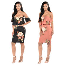 Women sexy boat neck off shoulder floral print cocktail clubwear party dress