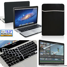 """4in1 Rubberized Hard Case+KB Cover+Soft Bag+lcd Macbook Pro 13""""/13.3 A1425/A1502"""
