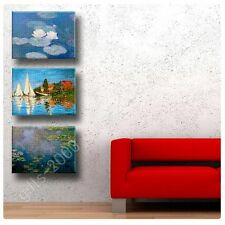Synthetic CANVAS +GIFT Water Lilies Regatta Claude Monet Set Of 3 Wall Art