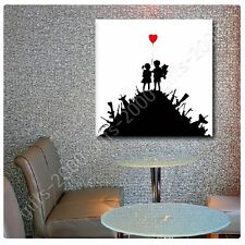 Synthetic CANVAS +GIFT Girl Meets Boy Kids On Guns Hills Banksy Paintings