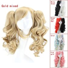 Lolita Long Curly Hair Wavy Ponytails Double Tiger Clip Cosplay Wigs 70cm Xmas