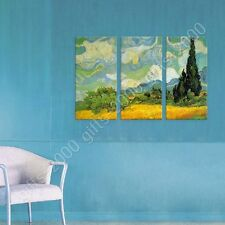 Synthetic CANVAS +GIFT Wheat Field With Cypresses Vincent Van Gogh 3 Panels