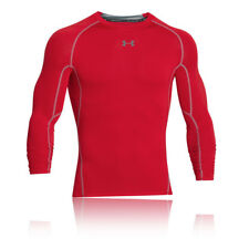 Under Armour HeatGear Mens Red Compression Long Sleeve Crew Neck Top Blouse