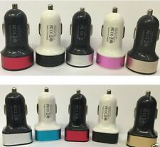 Round Square Coloured 2 Port Dual USB Car Charger Adaptor For Samsung iPhone HTC