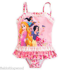 NWT Disney Store Princess 2pc Deluxe Swimsuit Rapunzel Jasmine Girls 4,5/6,7/8