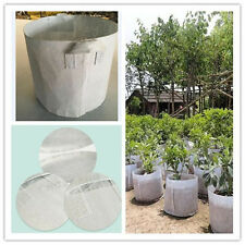 White Round Fabric Grow Pots Breathable Plant Bags Container 5,7,10,20,50 Gallon