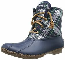 SPERRY TOP-SIDER women SALTWATER DUCK RAIN BOOT Waterproof Plaid NAVY size 7.5 M