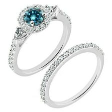 1 Carat Blue Diamond Beautiful Designer Wedding Halo Ring Band 14K White Gold
