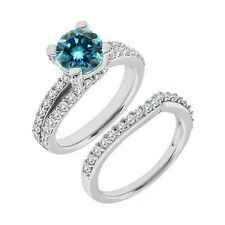 1 Carat Blue Diamond Split Shank Solitaire Wedding Ring Band Set 14K White Gold