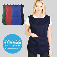 Tabard Apron With Pockets Work Wear Overall Catering Cleaning 5 Colours Tabbard