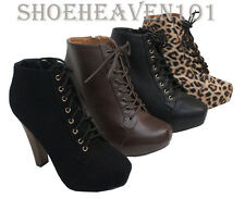 Womens High Thick Heel Booties Platform Ankle Lace Up Boots Fashion shoes