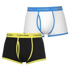 2 PAIRS BLACK YELLOW BLUE MENS CALVIN KLEIN BOXER SHORTS BOXERS TRUNKS UNDERWEAR