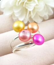 925 Sterling Silver Fancy Colorful Freshwater Pearl Ring , Size 8 & 9