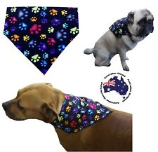 Dog Bandana Black Paws S M L Slides on Collar Pet Clothes Neck Fashion Scarf