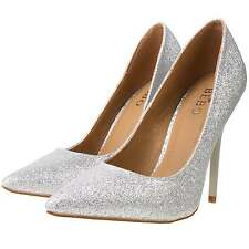 Ladies Silver Sparkly Glitter Pointed Toe High Stiletto Heel Party Court Shoes