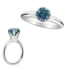 2.25 Carat Blue Diamond Solitaire Engagement Anniversary Ring 14K White Gold