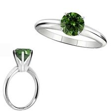 1 Carat Green Diamond Solitaire Engagement Anniversary Ring 14K White Gold
