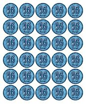 30 x4cm HAPPY 16th BIRTHDAY (boy) EDIBLE WAFER/FONDANT PAPER CUP CAKE TOPPERS