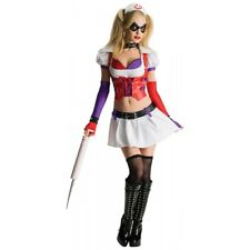 Harley Quinn Costume Adult Arkham Asylum Sexy Nurse Halloween Fancy Dress