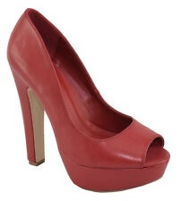 Speed 98 Women Stiletto High Heels Classic Pumps Platform Open Peep Toe Red FARE