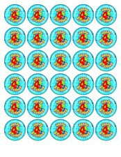 30x HAPPY 4th  BIRTHDAY (BOY) EDIBLE WAFER/FONDANT PAPER CUP CAKE TOPPERS