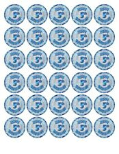 30x HAPPY 5th  BIRTHDAY (BOY) EDIBLE WAFER/FONDANT PAPER CUP CAKE TOPPERS