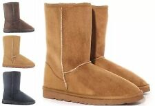 Womens Flat Soft Fur Lined Boots Ladies Winter Calf Suede Shoes Size UK3-8