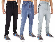 Mens Sweatpants Joggers Drop Crotch Skinny Fit Stretch Zipped Design by AD